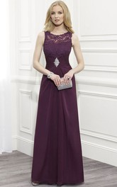 Sheath Scoop Neck Ruched Sleeveless Lace Formal Dress