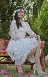 Bateau Illusion Sleeve Deep-V Back Lace Wedding Dress With Sash And Sequins