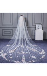 Ethereal Cathedral Wedding Veil with Flower Appliques
