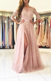 A-Line Lace Tulle Jewel 3 4 Length Sleeve Button Zipper Deep-V Back Dress