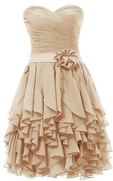Sweetheart Layered Short Dress With Flower in Waist
