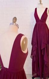 Beautiful Burgundy V-Neck Long Prom Dresses 2018 Chiffon Floor Length