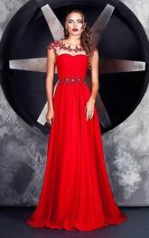 A-line Floor-length Bateau Short Sleeve Jersey Keyhole Dress