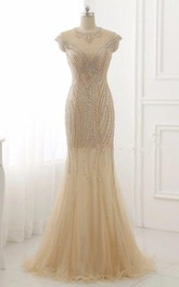 Mermaid Cap Sleeve Tulle Dress With Sequins