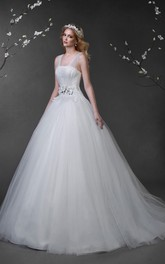 Ball Gown Maxi Sleeveless Lace-Up Tulle Dress With Appliques And Beading