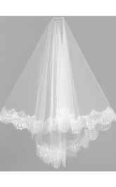 Tulle Short Wedding Veil with Lace Trim