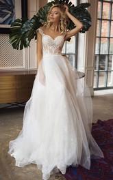 Lace Tulle Floor-length Brush Train A Line Sleeveless Casual Wedding Dress