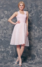 Halter A-line Short Chiffon and Lace Dress