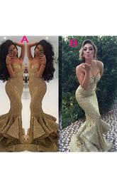 Spaghetti Sweetheart Sleeveless Brush Train Sequins Mermaid Dress