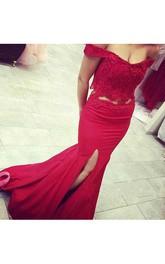 Mermaid Trumpet Satin Lace Off-the-shoulder Short Sleeve Zipper Dress