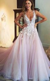 Gorgeous Sleeveless V-Neck 2018 Prom Dress Tulle Appliques