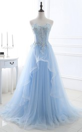 Lace Tulle Floor-length Sweep Train A Line Sleeveless Casual Prom Dress with Beading