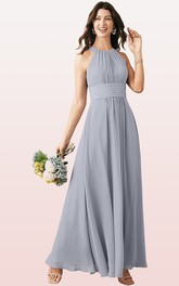 Modern Halter A Line Sleeveless Ankle-length Chiffon Bridesmaid Dress With Ruching