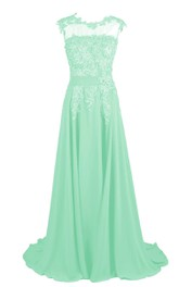 Cap-sleeve Beaded Chiffon A-line Gown With Lace Appliques