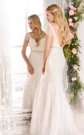 Enchanting Sheer Flutter Sleeve Long Lace Dress With Deep V Back