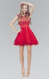 A-Line Short Bateau Cap-Sleeve Tulle Dress With Ruffles And Beading