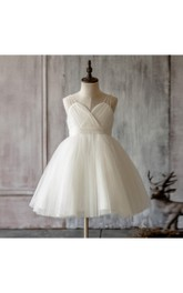 Jewel Straps Sweetheart Tulle Ball Gown With Pleats