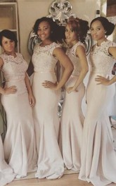 Newest Lace Mermaid Illusion Bridesmaid Dress 2018 Cap Sleeve