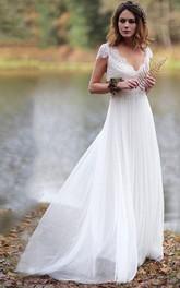 Ethereal Sheath Chiffon and Pleated Lace Wedding Dress
