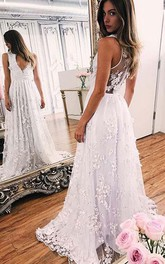 A-Line Lace V-neck Sleeveless Zipper Illusion Dress