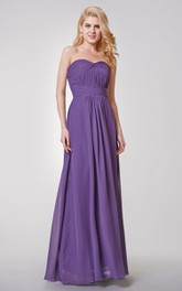 Sweetheart A-line Ruched Long Chiffon Dress