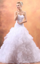 Organza Sweetheart A-Line Gown With Ruffled Skirt