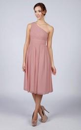 One Shoulder Pleated A-line Chiffon Tea Length Dress Dusky Pink