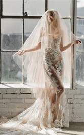 Champagne Simple Tulle Wedding Veil