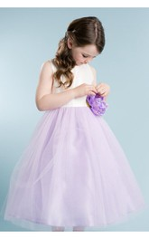 Scoop Neckline Sleeveless A-line Tulle Ankle Length Dress With Flower