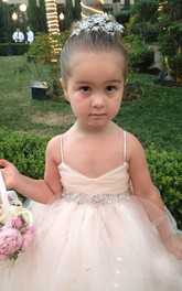 Lovely Spaghetti Strap Tulle Princess Flower Girl Dress Bowknot