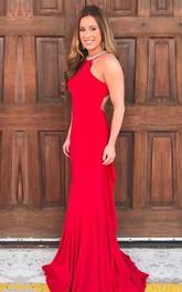 Casual Jersey Mermaid Sheath Halter Sleeveless Prom Dress With Straps Beading