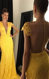 Modern Yellow V-neck 2018 Prom Dress Cap Sleeve Lace