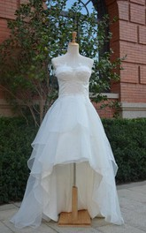Sweetheart Lace-Up Back High-Low Chiffon Wedding Dress With Ruffles And Tiers
