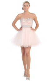 A-Line Mini Sweetheart Tulle Backless Dress With Ruffles And Waist Jewellery