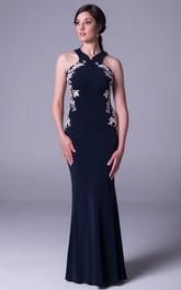 Sheath Maxi Sleeveless Appliqued Jersey Prom Dress