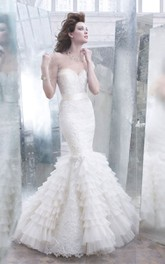 Noble Lace Pleated Organza Mermaid Dress With Ribbon