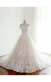 Off-the-shoulder A-line Floor-length Chapel Train Sleeveless Lace Tulle Wedding Dress with Lace-up Back