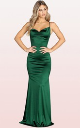 Modern Satin Cowl Sleeveless Mermaid Evening Dress With Pockets and Split Front