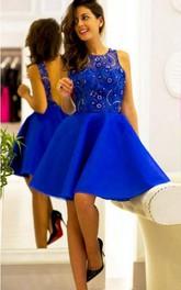 Sleeveless Jeweled A-line Knee-length Satin Dress