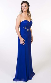 Sweetheart Criss-Cross Sleeveless Chiffon Prom Dress With Broach