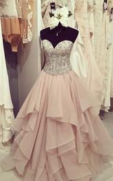 A-Line Ball Gown Organza Sweetheart Sleeveless Zipper Dress
