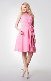 Feminine a Line Bateau Knee Length Chiffon Dress With Sash