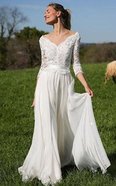 Romantic V-neck Chiffon Lace A Line Floor-length 3/4 Length Sleeve Wedding Dress