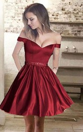 A-line Sleeveless Satin Off-the-shoulder Short Mini Homecoming Dress