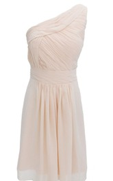 One-shoulder Pleated Chiffon A-line Dress With Ruched Band