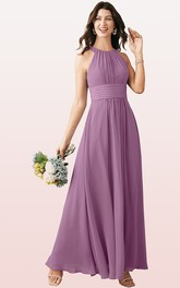 Halter A Line Sleeveless Ankle-length Chiffon Bridesmaid Dress With Ruching
