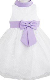 Sleeveless High-neck A-line Dress With Bow and Belt