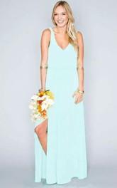 Floor-length Sheath V-neck Chiffon Beach Sleeveless Natural Waist Deep-V Back Dress