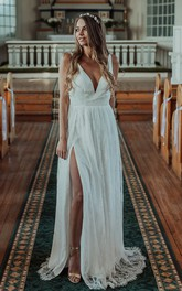 Casual V-neck Lace A Line Sleeveless Floor-length Wedding Dress with Split Front