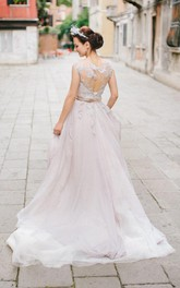 Romantic Lace Wedding In Lavender Shade Dress